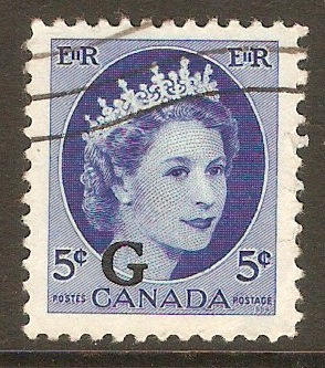 Canada 1955 5c Bright blue - Official stamp. SGO205.