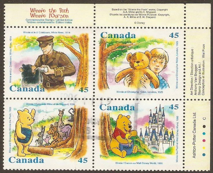 Canada 1996 Wiinie the Pooh Stamps Set. SG1701-SG1704.