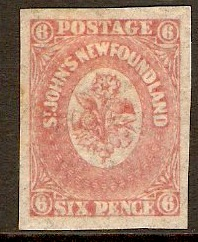 Newfoundland 1861 6d rose-lake. SG20.