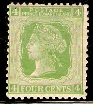 Prince Edward Island 1872 4c yellow-green. SG39.