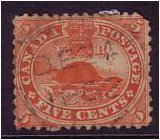 Canada 1859 5c. Deep Red. SG32.