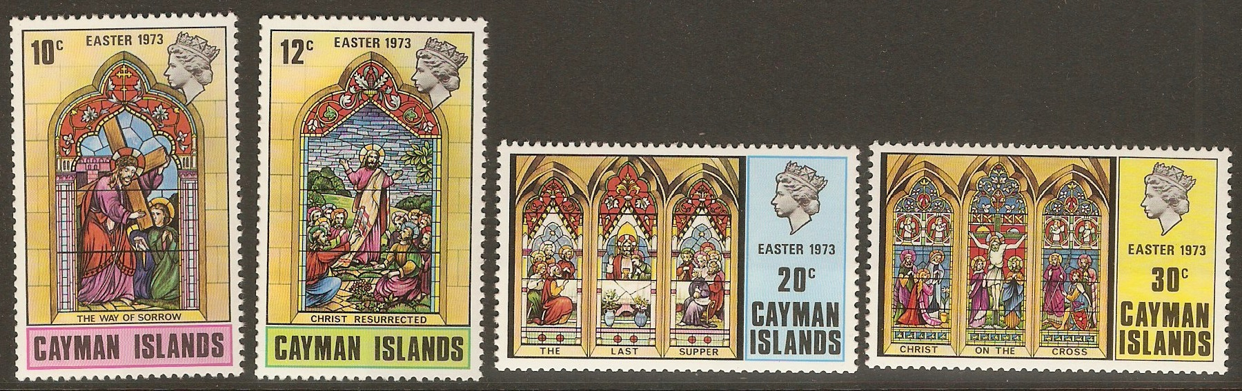 Cayman Islands 1973 Easter Stained Glass set. SG324-SG327.