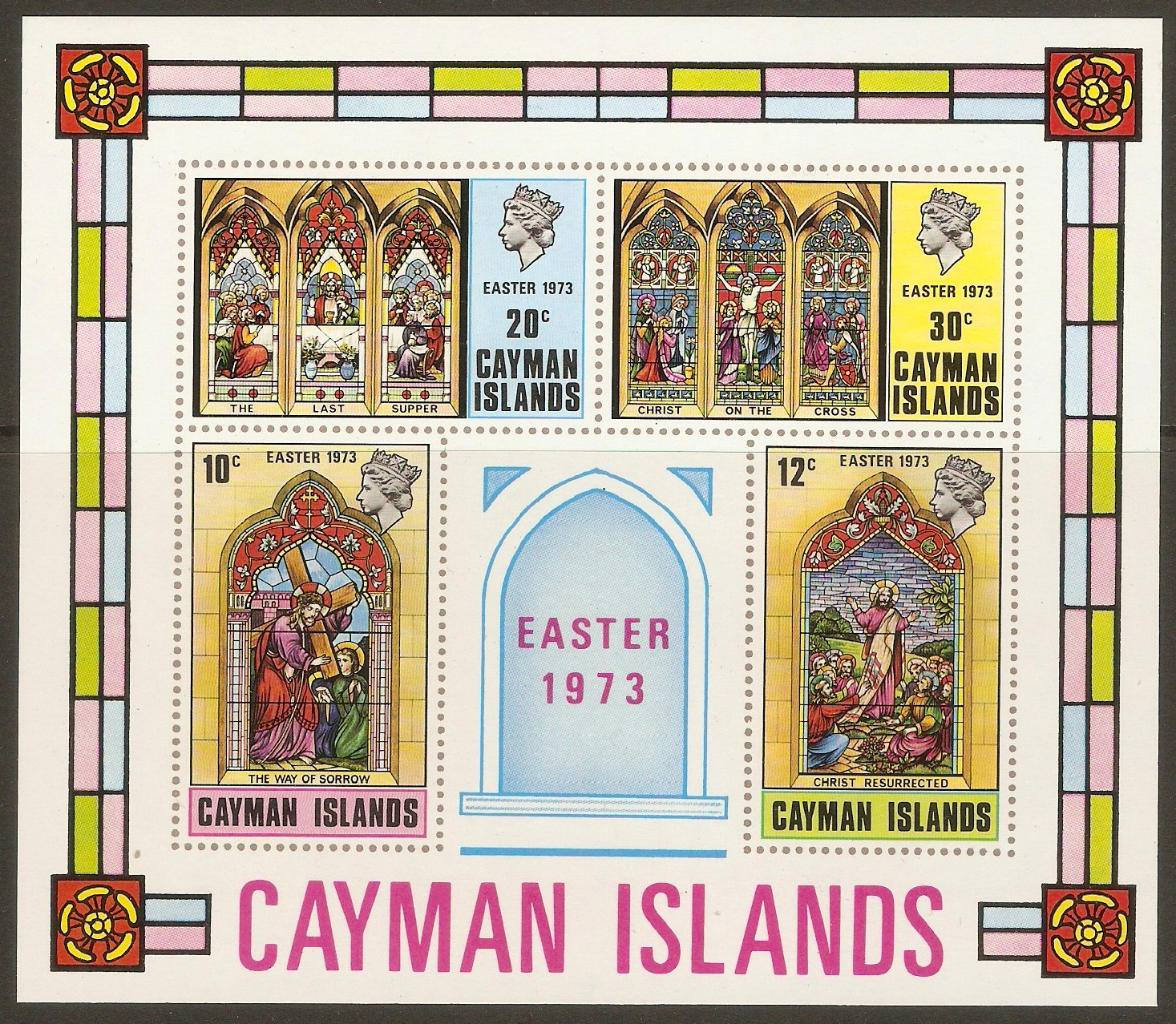 Cayman Islands 1973 Easter Stained Glass sheet. SGMS328.