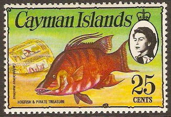 Cayman Islands 1974 25c Hogfish and Treasure. SG356.