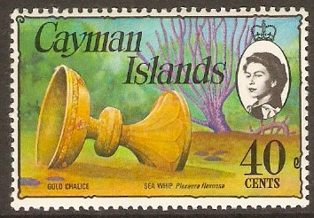 Cayman Islands 1974 40c Gold Chalice and Seawhip. SG357.