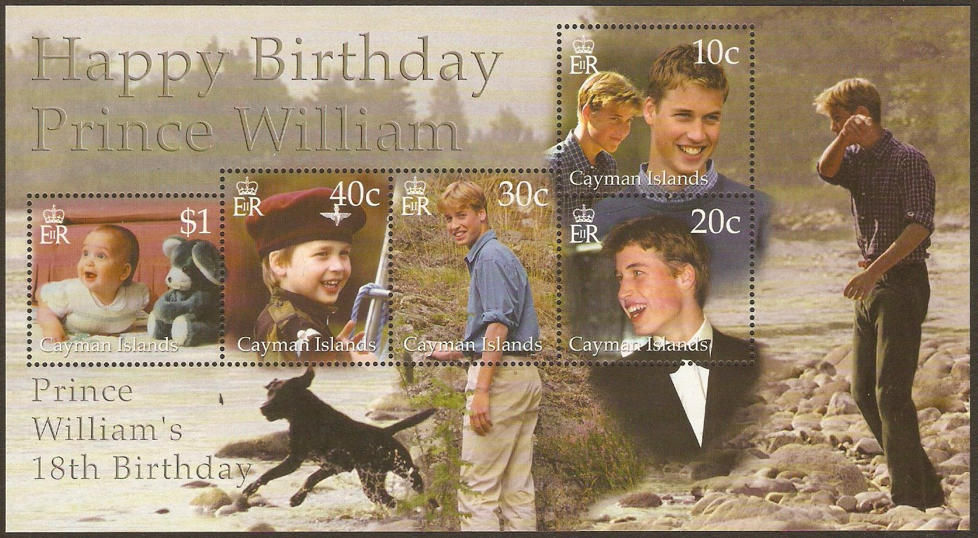 Cayman Islands 2000 Prince William's Birthday Sheet. SGMS932