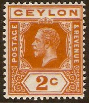 Ceylon 1912 2c Brown-orange. SG307.