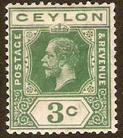 Ceylon 1912 3c Yellow-green. SG308.