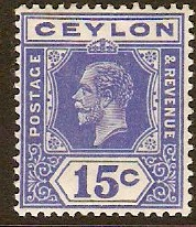 Ceylon 1912 15c Deep bright blue. SG311.