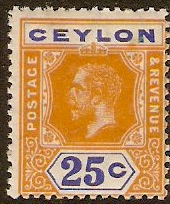 Ceylon 1912 25c Orange and blue. SG312.