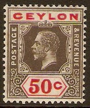 Ceylon 1912 50c Black and scarlet. SG314.