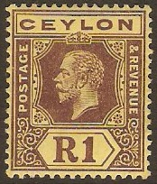 Ceylon 1912 1r Purple on yellow. SG315.