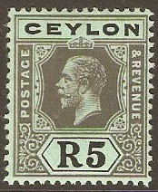 Ceylon 1912 5r Black on green. SG317.