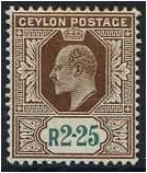 Ceylon 1903 2r.25 Brown and Green. SG276.