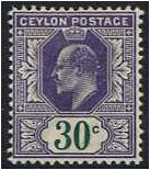 Ceylon 1903 30c. Dull Violet and Green. SG273.