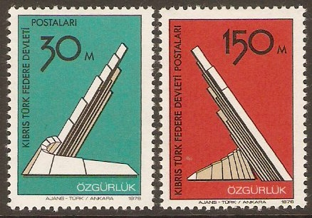 Turkish Cypriot Posts 1976 Liberation Monument Set. SG47-SG48.