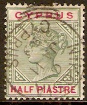 Cyprus 1894 ½pi Green and carmine. SG40.