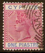 Cyprus 1894 1pi Carmine and blue. SG42.