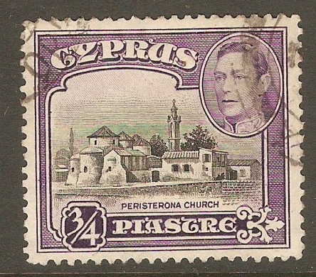 Cyprus 1938 ¾pi. Black and Violet. SG153.
