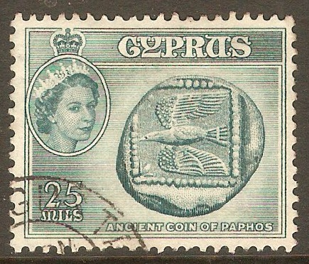 Cyprus 1955 25m Deep turquoise-blue. SG179.