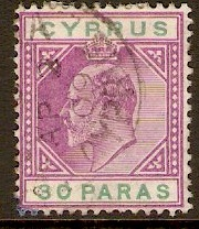 Cyprus 1904 30pa Purple and green. SG63.