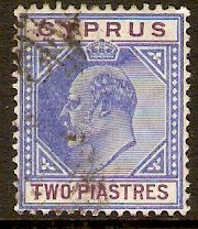 Cyprus 1904 2pi Blue and purple. SG65.