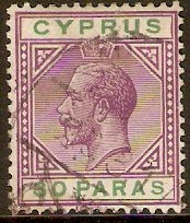 Cyprus 1912 30 pa Violet and green. SG76.