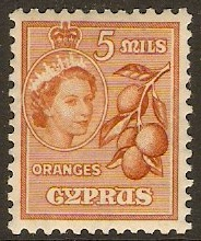 Cyprus 1955 5m Brown-orange. SG175.