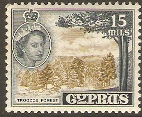 Cyprus 1955 15m Olive-green and indigo. SG177.