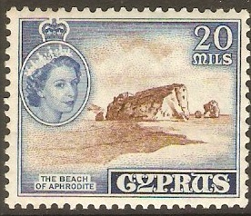 Cyprus 1955 20m Brown and deep bright blue. SG178.