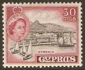 Cyprus 1955 30m Black and carmine-lake. SG180.