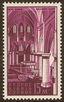 Cyprus 1962 15m Black and reddish purple. SG214.
