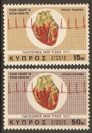 Cyprus 1972 Heart Month Set. SG385-SG386.