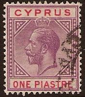 Cyprus 1921 1pi Violet and Red. SG90.