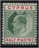 Cyprus 1902 ½pi. Green and Carmine. SG50.