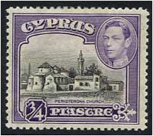 Cyprus 1938 ¾pi Black and violet. SG153.