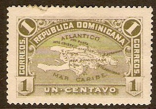 Dominican Republic 1900 1c Olive-green. SG102.