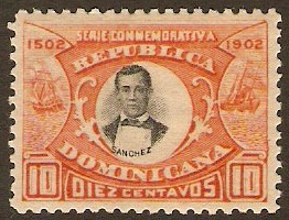 Dominican Republic 1902 10c black and orange. SG128.