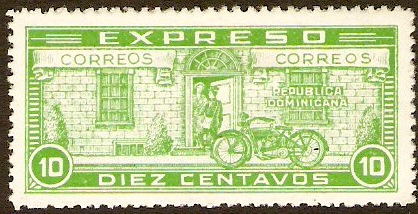 Dominican Republic 1927 10c green Express Delivery Stamp. SGE459