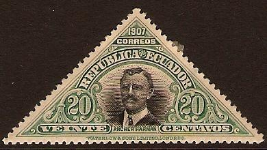 1908 20c Black and Green - Ecuador SG335
