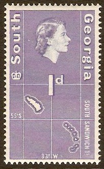 South Georgia 1963 1d Violet-blue. SG2.