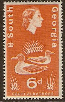 South Georgia 1963 6d Orange. SG8.