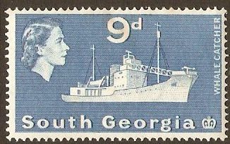 South Georgia 1963 9d Blue. SG9.