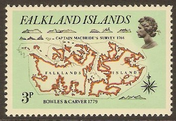 Falkland Islands 1981 3p Early Maps Series. SG396.
