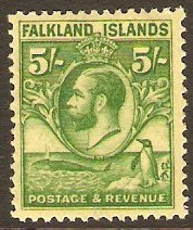 Falkland Islands 1929 5s Green on yellow. SG124.