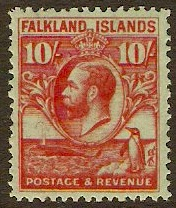 Falkland Islands 1929 10s Carmine on emerald. SG125.