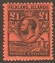 Falkland Islands 1929 �1 Black on red. SG126.