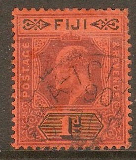 Fiji 1903 1d Dull purple and black on red. SG105.
