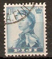 Fiji 1954 1d Turquoise-blue. SG281.