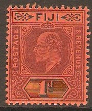 Fiji 1904 1d Purple and black on red. SG116.